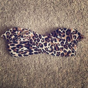 Cheetah print bandeau bathing suit top